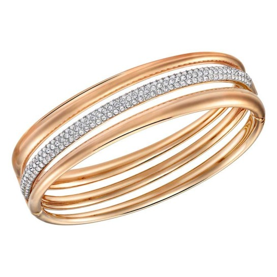 swarovski exact rose gold plated multi row bangle small