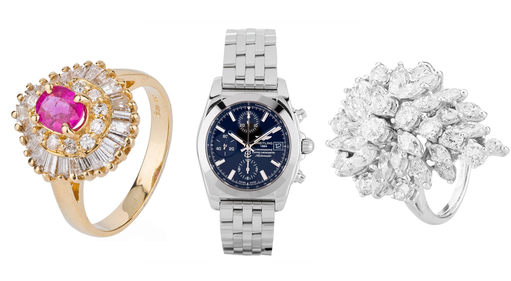 Second hand rings and Breitling watch selected from Shrewsbury collection.