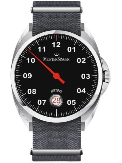 MeisterSinger Metris Fabric Strap Watch with black dial and red pointer