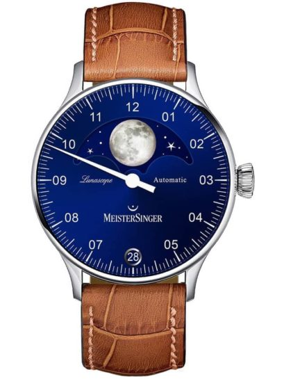 MeisterSinger Lunascope Leather Strap Watch with blue dial and moon phase