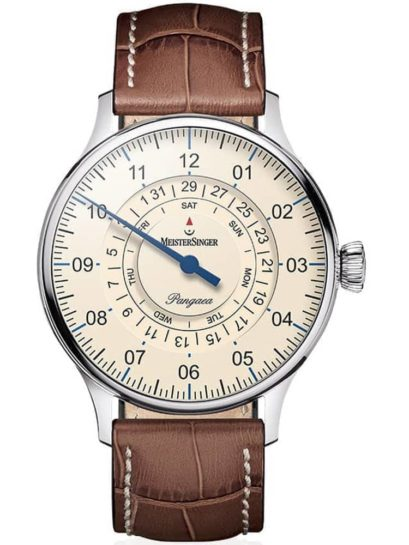 MeisterSinger Pangaea Day Date Watch With Brown Leather Strap