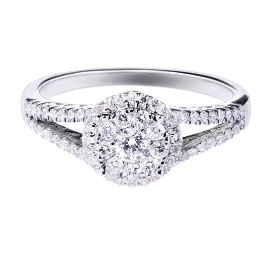 White gold diamond halo engagement ring