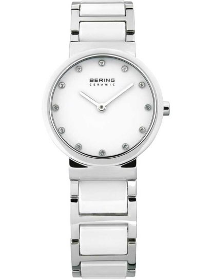 Bering Ladies White Ceramic Stainless Steel Stone Dial Bracelet Watch