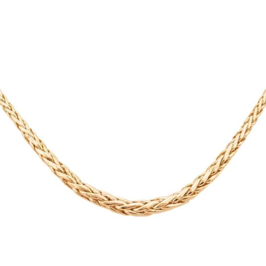 Second hand 9ct yellow gold spiga chain necklace