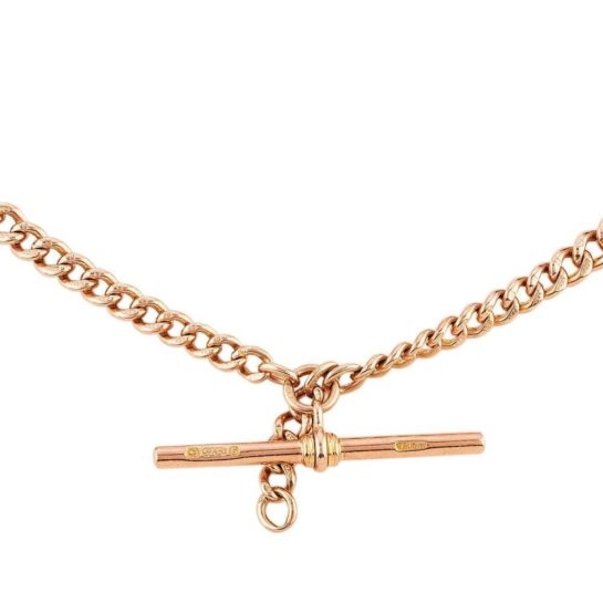 9ct rose gold Albert T-bar chain necklace