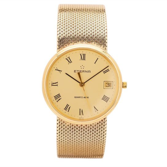 Eterna Mens 9ct Yellow Gold Mesh Watch