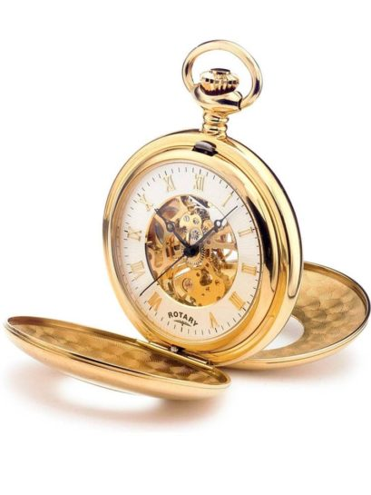 Rotary Mens Gold Plated Double Half Hunter Pocket Watch