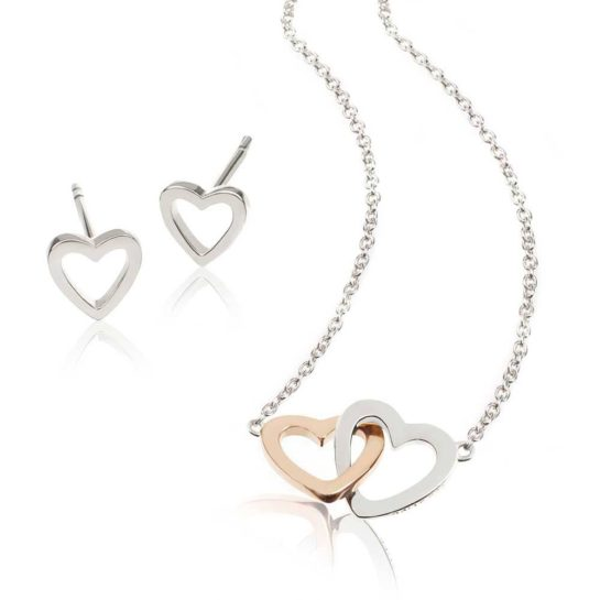 Daisy London Intertwined Hearts Necklace and Earrings Gift Set