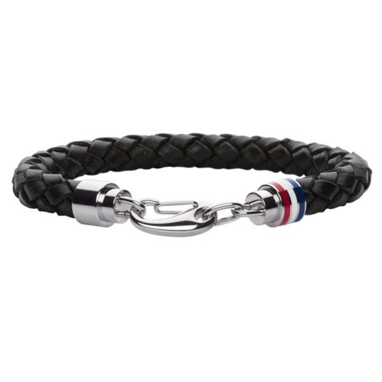 Tommy Hilfiger Mens Black Leather Bracelet