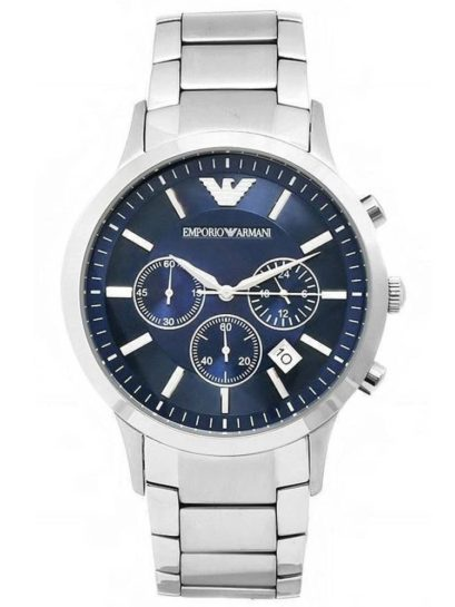 Emporio Armani Mens Silver Chronograph Watch