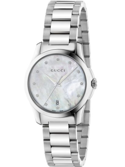 Gucci Ladies G-Timeless Stainless Steel Mother Of Pearl Diamond Set Bracelet Watch