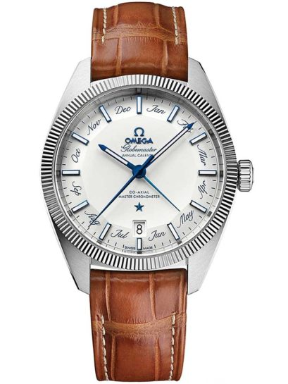 Omega Mens Globemaster Brown Leather Strap Watch