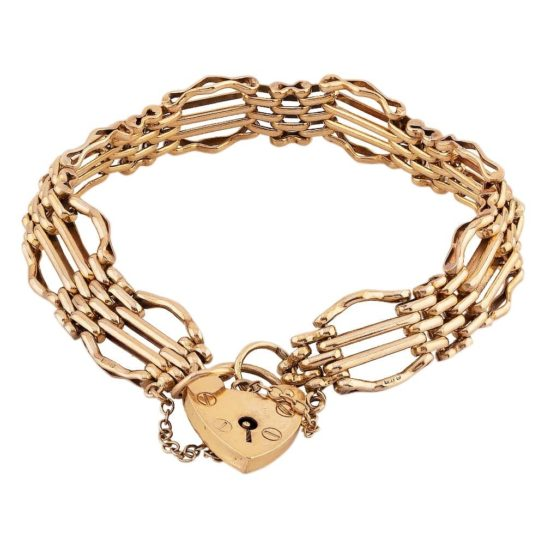 Second Hand 9ct Yellow Gold Four Bar Gate Bracelet