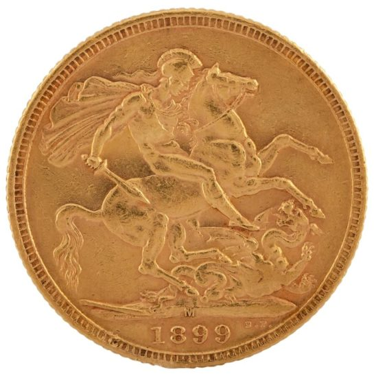 Second Hand 22ct Gold 1899 Queen Victoria Sovereign Coin