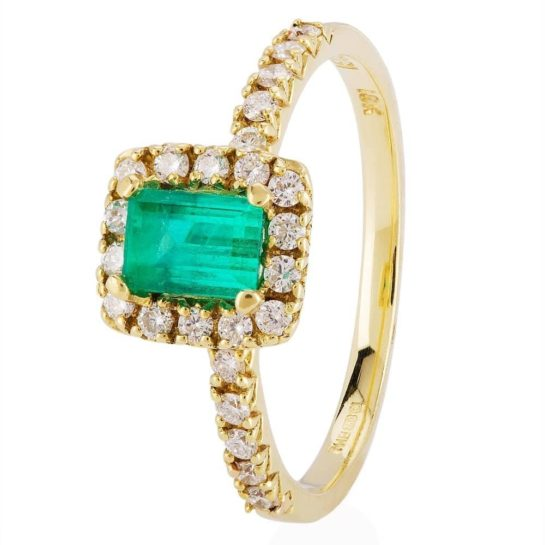 Second Hand 18ct Gold Emerald and Diamond Ring