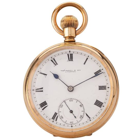 Second Hand Thos Russell and Son Mechanical Open Case Pocket Watch