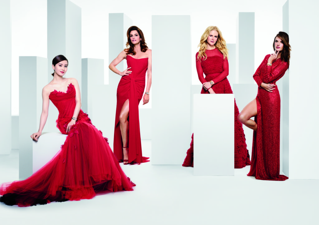 Omega Constellation Manhattan 5th generation campaign featuring Liu Shishi, Nicole Kidman, and Cindy Crawford wearing red dresses and wrist watches.