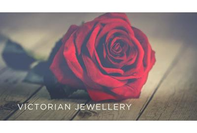 red rose with text 'Victorian jewellery'