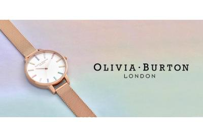 banner with blue and pink background, rose gold watch and Olivia Burton logo