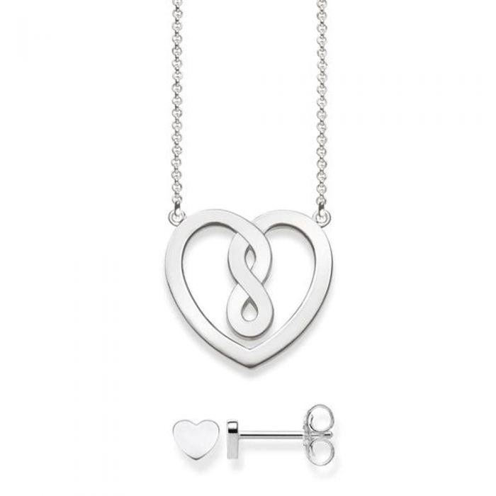5e04a157ef615 Thomas Sabo Silver Infinity Heart Necklace and Stud Earrings Set  SET0557-001-21-L42V