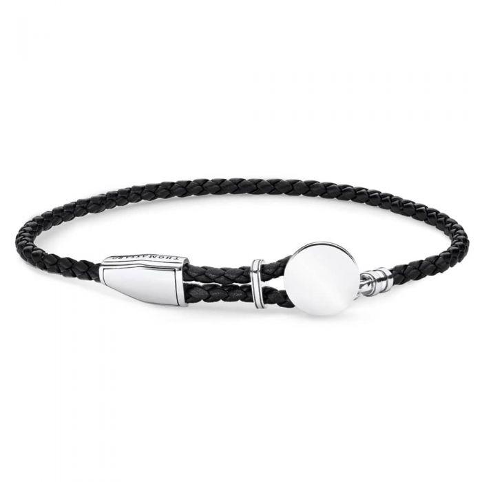 Thomas Sabo Sterling Silver Disc Black Leather Bracelet