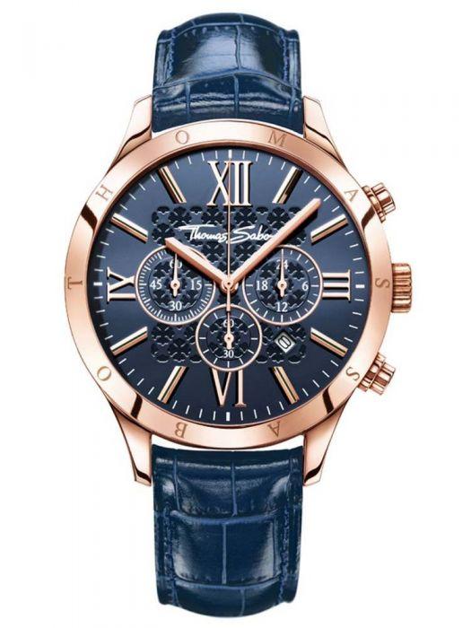 Thomas Sabo Mens Rose Gold Toned Blue Chronograph Strap Watch