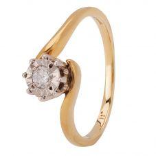 9ct Yellow Gold Illusion-set Diamond Twist Solitaire Ring 095-TC49D11 L