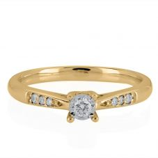 9ct Gold Illusion Set 0.19ct Solitaire Diamond Ring S4490D-9Y-019G