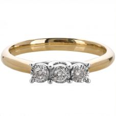 9ct Gold 3 Stone Illusion Set 0.15ct Diamond Ring J4162.9Y.015F