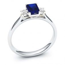 9ct White Gold Baguette Cut Sapphire and Round  Diamond Trilogy Ring R4364-64S W 9