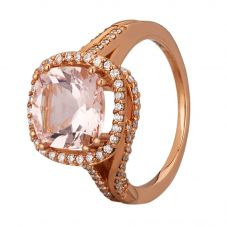 18ct Rose Gold Cushion-cut Morganite and Diamond Cluster Twist Ring R305896MG R
