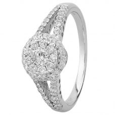 9ct White Gold 0.50ct Diamond Halo Cluster Ring SKR15202-50