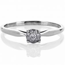 9ct White Gold 0.06ct Diamond Round Cluster Ring 1903WG/06-9