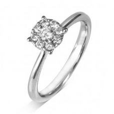 18ct White Gold Diamond Cluster Ring IR1(7.0)