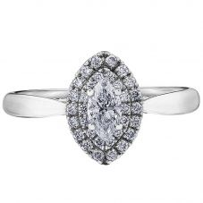 18ct White Gold 0.55ct Marquise-cut Diamond Double Halo Cluster Ring 30177WG/55-18