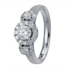 18ct White Gold 0.95ct Diamond Trilogy Cluster Ring 30286WG/95-18 N