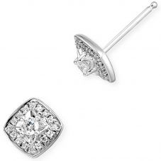 9ct White Gold Round Brilliant Illusion Set Diamond Cluster Stud Earrings 0.25ct 34.08415.004