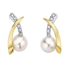 9ct Two Tone Gold Freshwater Pearl and Diamond Crossover Stud Earrings E2341-9