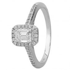 9ct White Gold 0.75ct Emerald-cut Diamond Halo Ring SKR15213-75 M