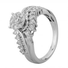 9ct White Gold 1.00ct Diamond Twist Fancy Cluster Ring SKR19651-100