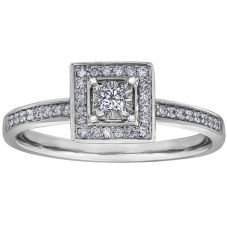 9ct White Gold 0.20ct Princess-cut Diamond Square Cluster Ring 30388WG/20-10