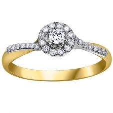 9ct Two Tone Gold 0.25ct Diamond Twist Cluster Ring 30392YW/25-10