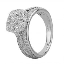 9ct White Gold 1.00ct Diamond Fancy Shouldered Square Cluster Ring SKR20737-100