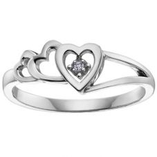 9ct White Gold Diamond Triple Open Heart Ring CH406WG-10