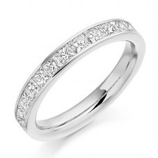 18ct White Gold 1.00ct Channel Set Princess Cut Half Eternity Ring HET2107 18W N