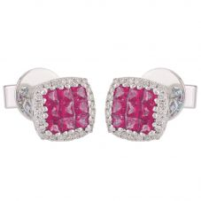 18ct White Gold Ruby and Diamond Square Stud Earrings 426541