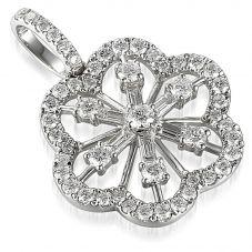 18ct White Gold Diamond Floral Pendant PEN56857/77