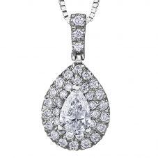 18ct White Gold 0.53ct Pear-cut Diamond Halo Cluster Pendant P3787W/53-18