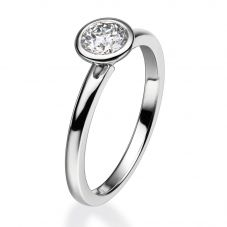 Mastercut Contemporary 18ct White Gold Rubover Diamond Solitaire Ring C2RG002W