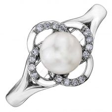 9ct White Gold Freshwater Pearl and Diamond Flower Ring 54C64WG-10